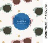 cat eye retro glasses... | Shutterstock .eps vector #745227340