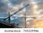 industrial construction crane... | Shutterstock . vector #745229986