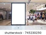 blank bulletin board in modern... | Shutterstock . vector #745230250