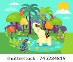 indian flora and fauna cartoon... | Shutterstock .eps vector #745234819