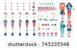 schoolgirl constructor of girl...   Shutterstock .eps vector #745235548