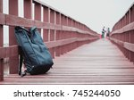 travel backpack of wanderlust... | Shutterstock . vector #745244050