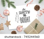 christmas flat lay design with...   Shutterstock .eps vector #745244560