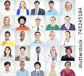 portrait of multiethnic mixed...   Shutterstock . vector #745245184
