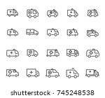 simple set of ambulance related ... | Shutterstock .eps vector #745248538