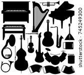 outline a set of musical... | Shutterstock .eps vector #745249300