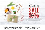 promo web banner for xmas sale. ... | Shutterstock .eps vector #745250194