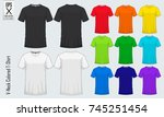 v neck t shirts templates. set... | Shutterstock .eps vector #745251454