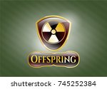 shiny badge with nuclear ... | Shutterstock .eps vector #745252384