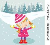 kids play in winter. children... | Shutterstock .eps vector #745253740