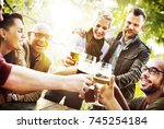 friends having beers | Shutterstock . vector #745254184