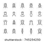 premium set of nurse line icons.... | Shutterstock .eps vector #745254250