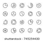 modern pie chart line icon....