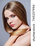 beauty skin and hair concept.... | Shutterstock . vector #745257994