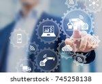 smart factory and industry 4.0... | Shutterstock . vector #745258138