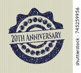 blue 20th anniversary distress... | Shutterstock .eps vector #745259956