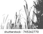 silhouette of reed bush. vector ... | Shutterstock .eps vector #745262770