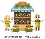 vector illustration of florist... | Shutterstock .eps vector #745266319