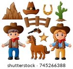 cartoon cowboy and cowgirl with ... | Shutterstock . vector #745266388