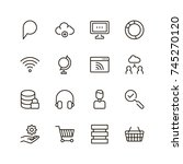 seo icon set. collection of... | Shutterstock .eps vector #745270120