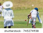 cricket junior game action... | Shutterstock . vector #745274938