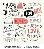 christmas and new year doodles...   Shutterstock .eps vector #745275058
