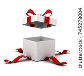 open gift box   present box... | Shutterstock . vector #745278004