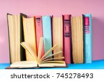 open book  hardback books on...   Shutterstock . vector #745278493