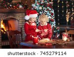 children baking christmas... | Shutterstock . vector #745279114