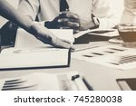 business team working on... | Shutterstock . vector #745280038