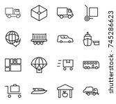 thin line icon set   truck  box ... | Shutterstock .eps vector #745286623