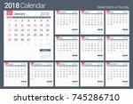 2018 calendar template  planner ... | Shutterstock .eps vector #745286710