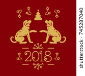 christmas card happy new year... | Shutterstock .eps vector #745287040