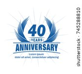40 years design template.... | Shutterstock .eps vector #745288810