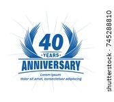40 years design template.... | Shutterstock .eps vector #745288810