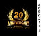 20 years design template.... | Shutterstock .eps vector #745288834
