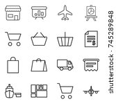 thin line icon set   shop ... | Shutterstock .eps vector #745289848
