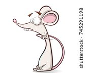 funny  cute cartoon mouse... | Shutterstock .eps vector #745291198