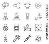 thin line icon set   brain ...   Shutterstock .eps vector #745296310