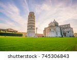 pisa cathedral and the leaning... | Shutterstock . vector #745306843
