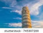 the leaning tower in a sunny... | Shutterstock . vector #745307200