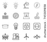 thin line icon set   bulb ... | Shutterstock .eps vector #745309858