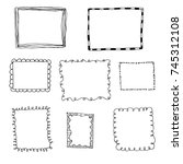 set of hand drawn doodle frames | Shutterstock .eps vector #745312108