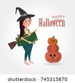 happy halloween illustration.... | Shutterstock .eps vector #745315870