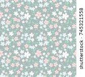 delicate floral pattern.... | Shutterstock .eps vector #745321558