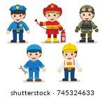 kid set of different... | Shutterstock .eps vector #745324633