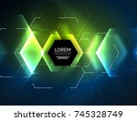 digital techno abstract... | Shutterstock .eps vector #745328749