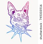 cat head portrait in choker.... | Shutterstock .eps vector #745333516