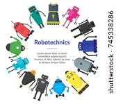 cartoon cute toy robots banner... | Shutterstock .eps vector #745338286