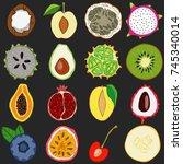 set of fresh hand drawn fruits... | Shutterstock . vector #745340014